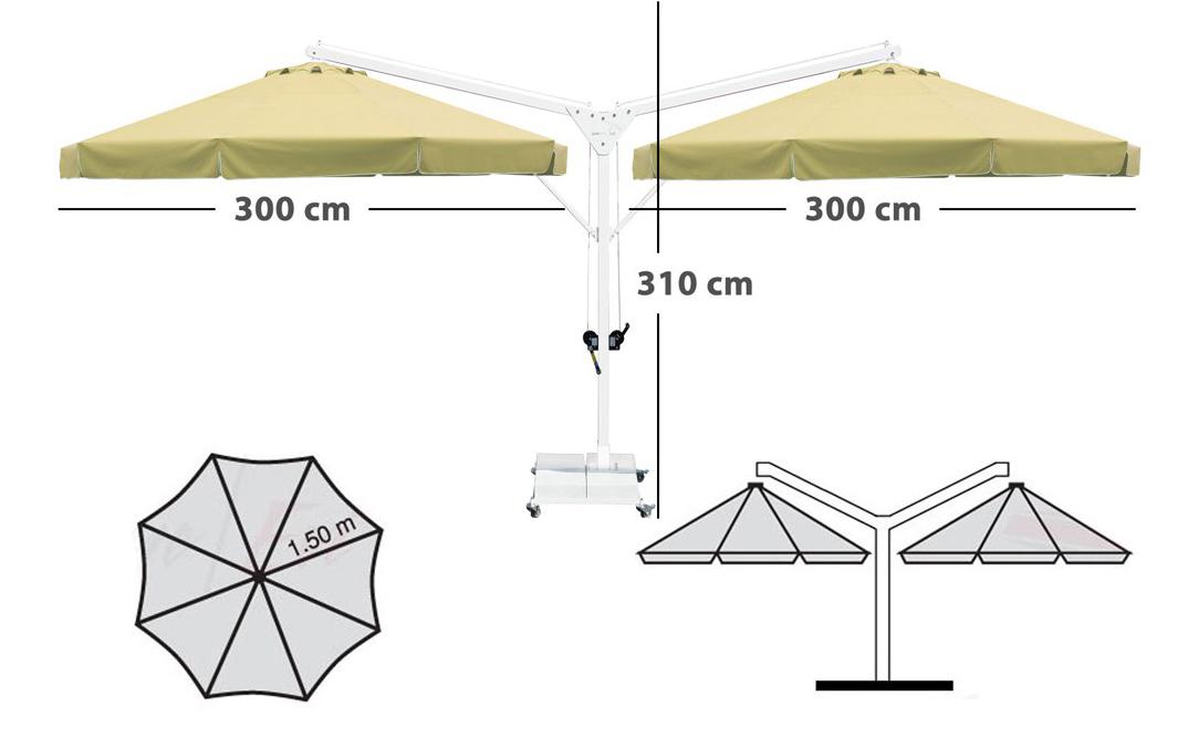 çift açılım yandan direkli şemsiye
